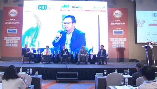 ông Lê Xuân Vũ - Thành viên Ban điều hành MB (ngồi ngoài cùng bên phải) phát biểu tại sự kiện.