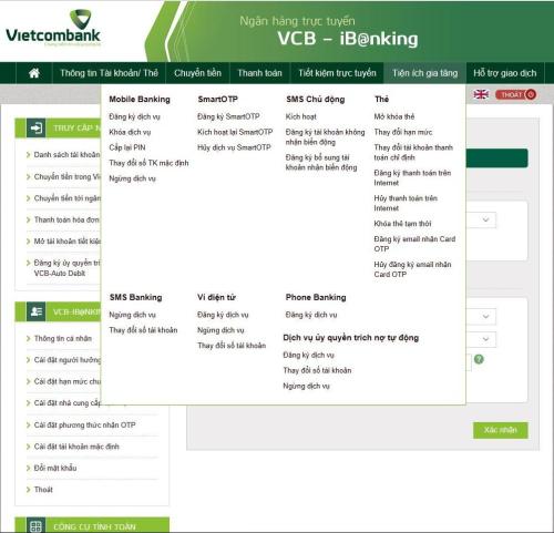 Giao diện sử dụng trên ứng dụng Vietcombank.