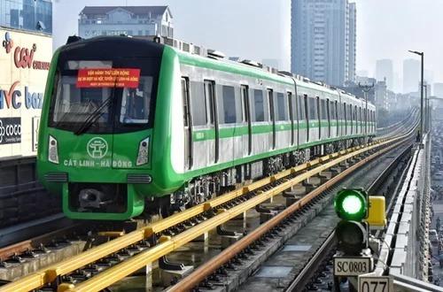 Tuyến đướng sắt đô thị Hà Nội, đoạn Cát Linh - Hà Đông trong giai đoạn chạy thử. Ảnh: Giang Huy