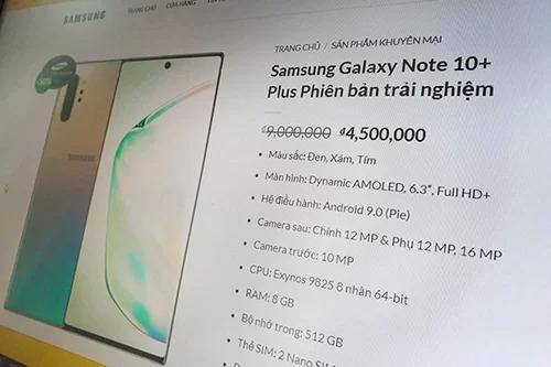 Trang web samsungvietnam.online có giao diện giống website của Samsung. Trong hình là mẫu máy Galaxy Note10+ bản trải nghiệmcó giá bán 4,5 triệu đồng.