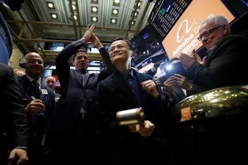 Nhà sáng lập Alibaba Jack Ma trong IPOtại Mỹ năm 2014. Ảnh: Bloomberg