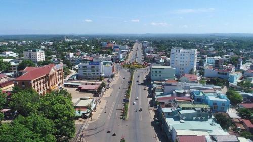 Ảnh chụp một góc thị xã Đồng Xoài, Bình Phước.