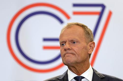 Chủ tịch Hội đồng châu Âu (EC) Donald Tusk tại G7. Ảnh: AFP