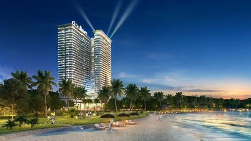 Phối cảnh khu căn hộ Citadines Marina Halong nhìn từ ngoài biển.