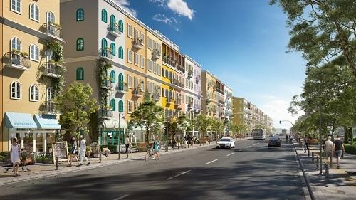 Phối cảnh dãy phố của Sun Grand City New An Thoi.