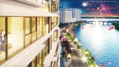 Cũng theo ông Tan, do tòa nhà nằm cạnh dòng chảy của con sông, bản thân thế đất công trình cũng cong nên khi thiết kế, các kiến trúc sư đã áp dụng đường nét thiết kế cong nương theo hình thù thực tế này để kiến tạo tòa nhà A. Nhờ đó, gần như toàn bộ căn bộ đều sở hữu view sông rộng thoáng. Các không gian chức năng chính trong nhà như phòng khách, phòng ngủ... đều có tầm nhìn ra cảnh quan thiên nhiên. Mật độ căn hộ trên mỗi tầng chỉ 11 căn, phần lớn căn hộ được bố trí khéo léo để cửa chính không đối nhau, tạo sự riêng tư cho các gia đình. Hành lang rộng, có ô thông gió giúp đón gió từ bên ngoài vào hành lang và bên trong căn hộ, rất mát mẻ, tiết kiệm năng lượng. Việc thiết kế căn hộ theo hướng Tây Bắc và Đông Nam cũng là một sự tính toán kỹ lưỡng của các đơn vị thiết kế, tránh ánh nắng hướng Tây nóng bức vào buổi chiều.