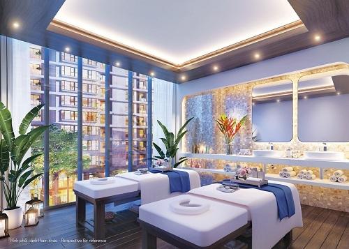 Phối cảnh spa với hướng nhìn đẹp, thiết kế sử dụng gam màu nhẹ nhàng, mang lại cảm giác thư giãn.