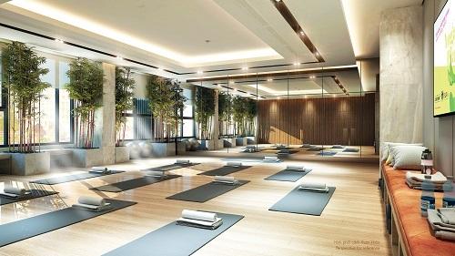 Phối cảnh phòng tập yoga có thể chuyển đổi thành phòng tập nhảy.