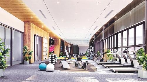Phối cảnh khu gym với các trang thiết bị máy móc hiện đại, đáp ứng nhu cầu rèn luyện sức khỏe và các bài tập từ cơ bản đến nâng cao.