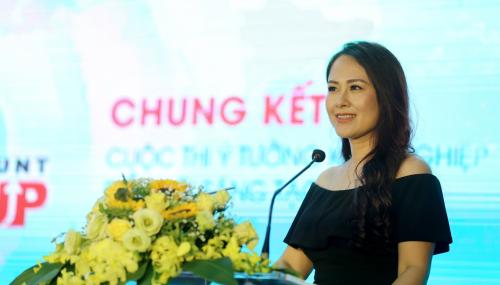 Bà Nguyễn Linh Chi - Phó chủ tịch Công ty Alma phát biểu tại buổi lễ Chung kết Startup Hunt 2019.