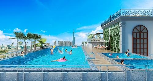 Phối cảnh tiện ích bể bơi bên trong dự án.
