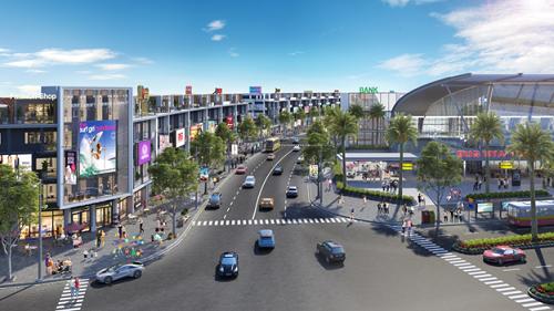 Phối cảnh góc phố kinh doanh tại dự án Nhơn Hội New City.