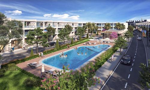 Phối cảnh hồ bơi trung tâm tại dự án đô thị Nhơn Hội New City với loạt tiện ích phục vụ cuộc sống cư dân.
