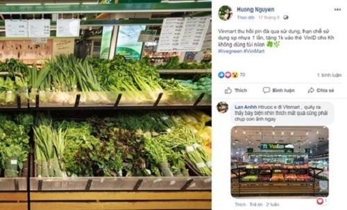 Một bài chia sẻ về gian hàng rau củ quả của VinMart.