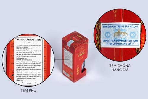 Sản phẩm Saffron Bahraman do Saffron Việt Nam phân phối được dán tem chống hàng giả của Bộ Công An và tem phụ giúp người tiêu dùng tránh mua phải hàng giả, hàng nhái.