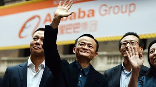 Jack Ma trong IPO của Alibaba tại Mỹ. Ảnh: AFP