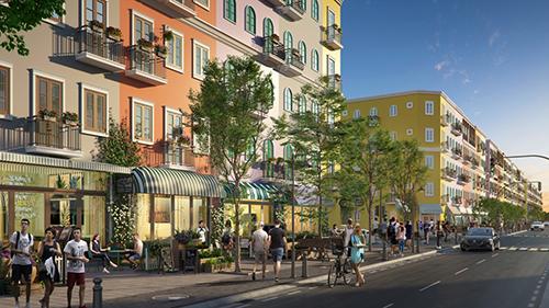Phối cảnh phần vỉa hè bêntrong dự ánSun Grand City New An Thoi, tạo không gian thoáng rộng cho người đi bộ.