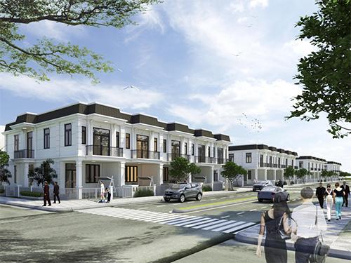 Phối cảnh nhà phố bên trong dự án Young Town Tây Bắc Sài Gòn.