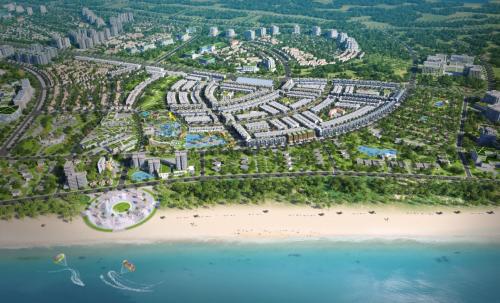 Phối cảnh dự án Nhơn Hội New City nằm cạnh bờ biển cát trắng trải dài. điểm du lịch Kỳ Co, Eo Gió...