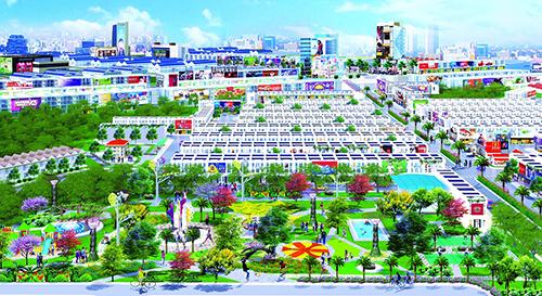 Phối cảnh tổng thể khu đô thị Hana Garden Mall nhìn từ công viên trung tâm Hana Garden Park.