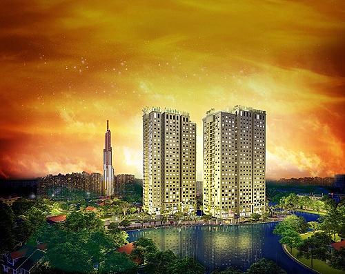 Phối cảnh dự án Paris Hoàng Kim nhìn từ trên cao.