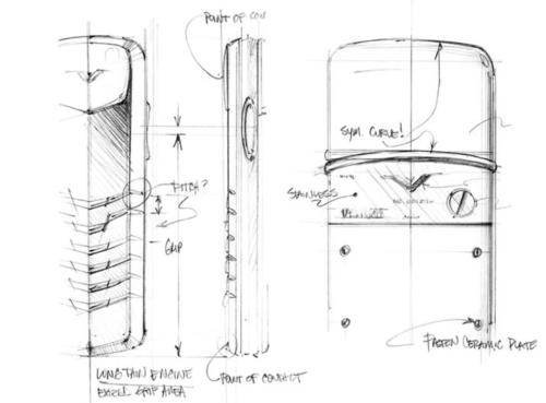 Bản vẽ phác thảo chiếc Vertu đầu tiên của Frank Nuovo.