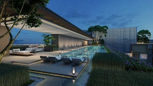 Sky Club trên tầng thượng tòa nhà với các tiện ích xứng tầm cùng tầm nhìn trải dài về phía trung tâm thành phố.