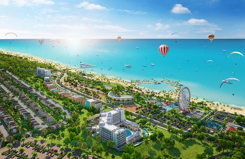Phối cảnh NovaWorld Phan Thiet với hơn 100 tiện ích, kỳ vọng thu hút và giữ chân du khách quốc tế đến Bình Thuận.