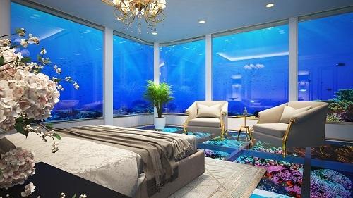Một căn hộ khách sạn nằm dưới mực nước biển 5m.