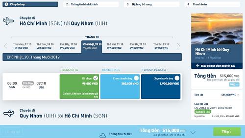 Giá vé từ TP HCM đi Quy Nhon vào ngày chủ nhật 20/10 có giá 99.000 đồng chưa thuế phí, giá vé cập nhật ghi nhận vào ngày thứ tư 18/9.