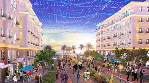 Dãy biệt thự, shophouse, boutique hotel mặt tiền biển của dự án.