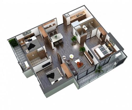 Thiết kế căn 3 phòng ngủ.