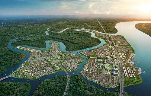 Phối cảnh khu đô thị sinh thái thông minh Aqua City (Long Hưng, Đồng Nai) với nhiều sông ngòi bao quanh.