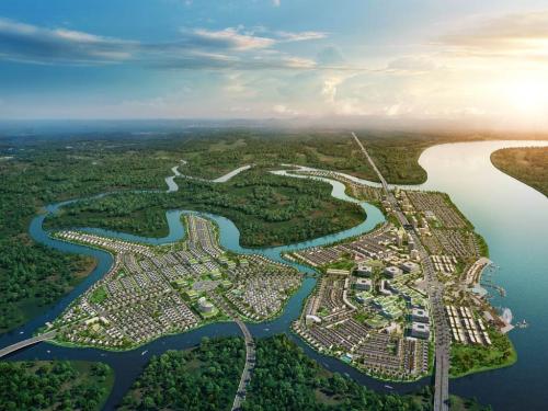 Phối cảnh đô thị sinh thái thông minh Aqua City với các con sông bao bọc xung quanh.