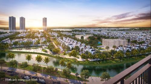 Tầm view ra khu biệt thự ngọc trai VIP nhất dự án và hệ thống sông đào thuộc hồ lớn trung tâm