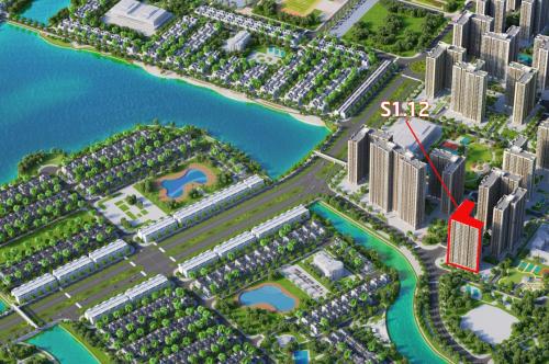 Phối cảnh tổng thể dự án Vinhomes Ocean Park. S1.12 sở hữu vị trí ven hồ đắc địa