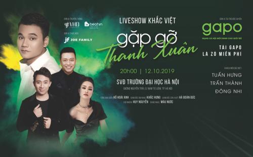Tuấn Hưng, Trấn Thành, Đông Nhi làm khách mời trong liveshow Gặp gỡ thanh xuân của Khắc Việt.
