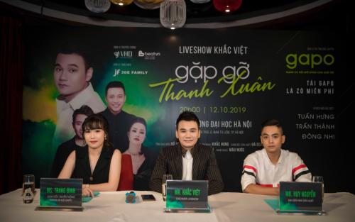 Bà Trang Đinh (ngoài cùng bên trái) - Giám đốc truyền thông của mạng xã hội Gapo (áo trắng)tham gia buổi họp báo công bố liveshow Gặp gỡ thanh xuân.