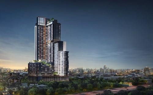 Phối cảnh dự án căn hộ cao cấp XT Huaikhwang của Sansiri tại Bangkok, Thái Lan.