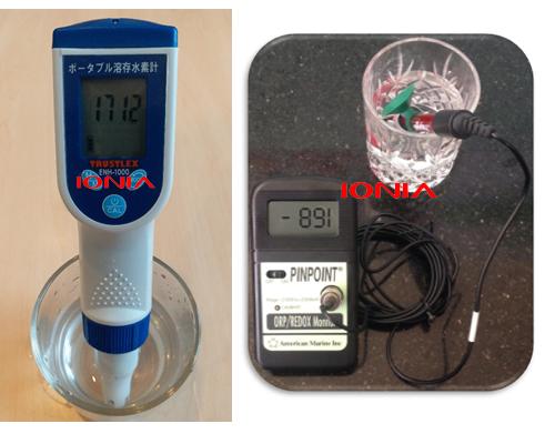 Chỉ số Hydrogen và ORP trong máy ion kiềm IONIA đo bằng dụng cụ đo Hydro ENH-1000hãng Trustlex và dụng cụ đo ORP hãng Amecircan Marine