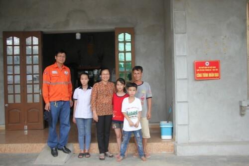 Ngôi nhà mới của 3 bố con ông Ngô Ngọc Hải do Công ty Núi Pháo phối hợp cùng Hội Chữ thập đỏ huyện Đại Từ hỗ trợ xây dựng.