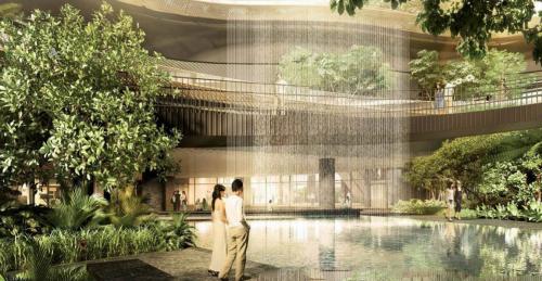 Khu bể bơi trung tâm dự án.