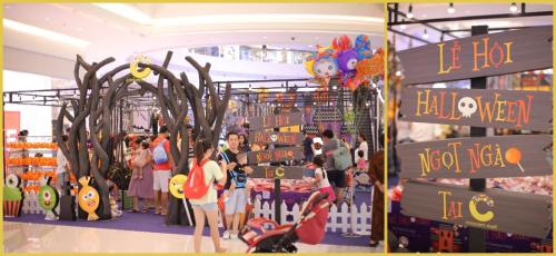 Gian hàng Halloween tại Crescent Mall, nơimua sắm vật dụng và trang phục theo chủ đề Halloween.