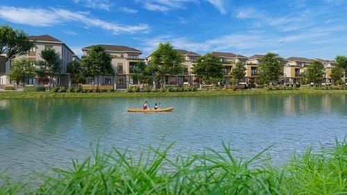 Không gian xanh gần gũi cây xanh, mặt nước góp phần cải thiện chất lượng không khí, bảo vệ sức khỏe cư dân. Ảnh phối cảnh khu đô thị sinh thái Aqua City (Đồng Nai).