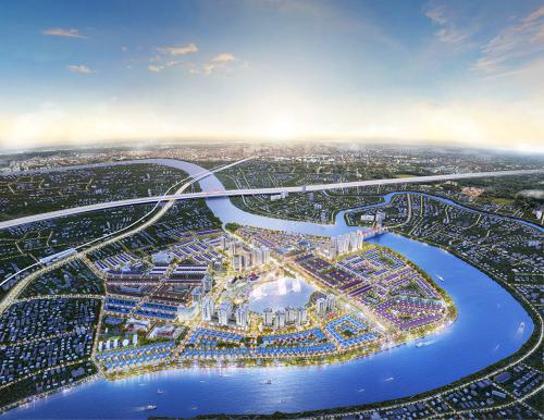 Khu đô thị Vạn Phúc có vị trí đắc địa tại bán đảo Hiệp Bình Phước, Thủ Đức, TP HCMvà kết nối thuận lợi đến các khu vực khác. Ảnh phối cảnh toàn khu đô thị.