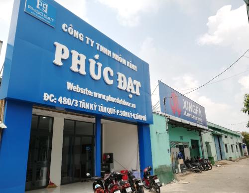 Cụm showroom trưng bày cửa nhôm Xingfa & nhà xưởng lắp đặt của Phúc Đạt tại Quận Tân Phú, TP HCM