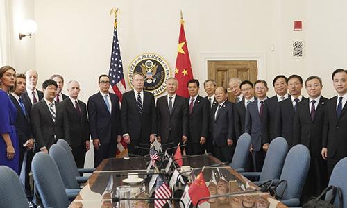 Hai đoàn đàm phán Mỹ - Trung gặp nhau tại Washington tuần trước. Ảnh: Xinhua