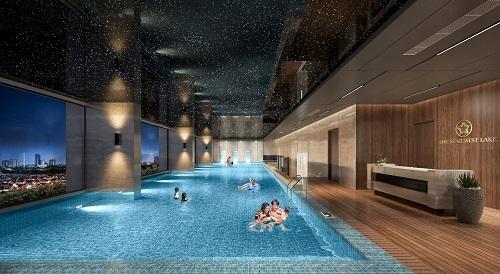 Bể bơi nước mặn 4 mùa bên trong dự án.