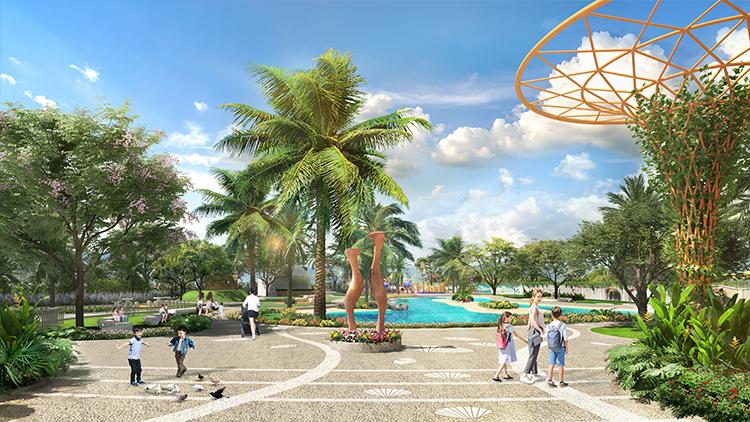 Phối cảnh 2 công viên tại Verosa Park với đa dạng tiện ích nhưkhu vui chơi trẻ em, không gian đọc sách, sân thể thao đa năng.