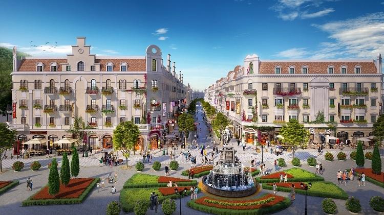 Phối cảnh một góc phân khu Shophouse Europe.